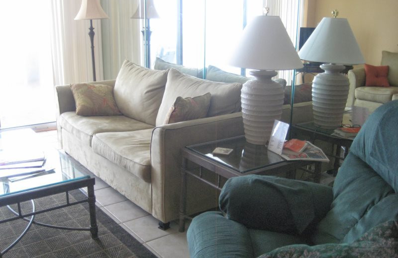 Guest living room at Gulf Beach Rentals.