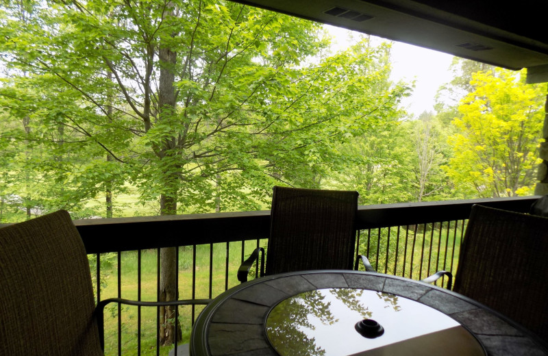 Guest balcony at Garland Lodge and Resort.
