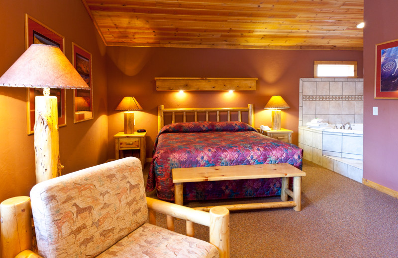 Guest room with jacuzzi at Red Cliffs Lodge.