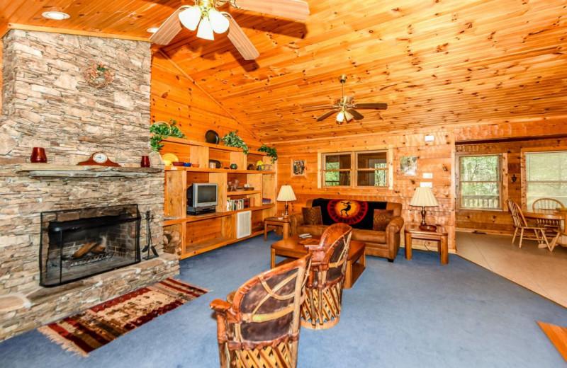 Cabin living room at Dogwood Cabins LLC.