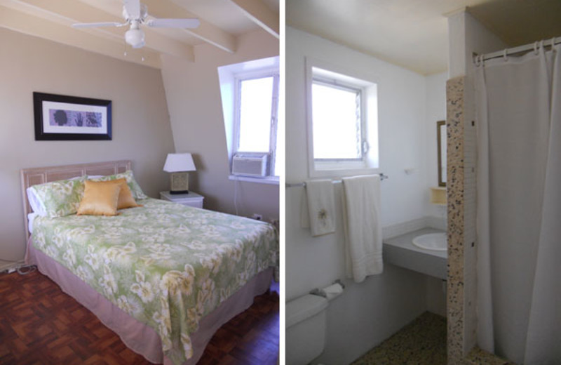 Rental bedroom and bathroom at Paradise Cove Resort.