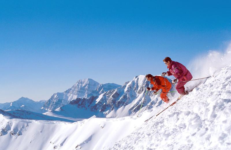 Down hill skiing near Gingerbread Cabin.