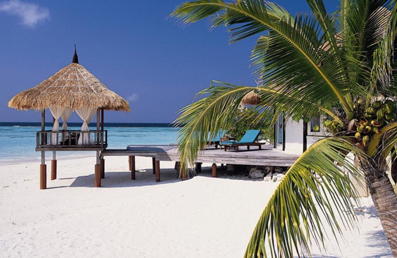 The beach at Banyan Tree Maldives Vabbinfaru.
