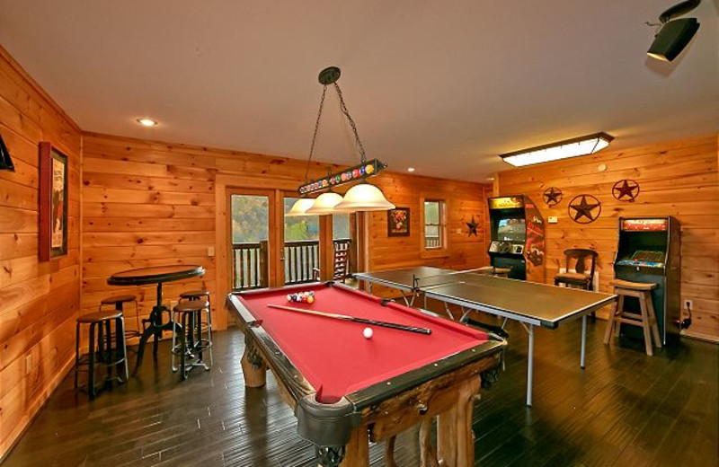 Rental game room at Smoky Mountains Vacation Cabins, LLC.