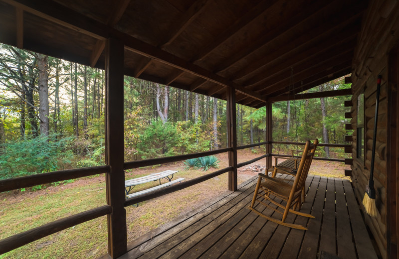 Cabin porch at Buffalo River Outfitters.