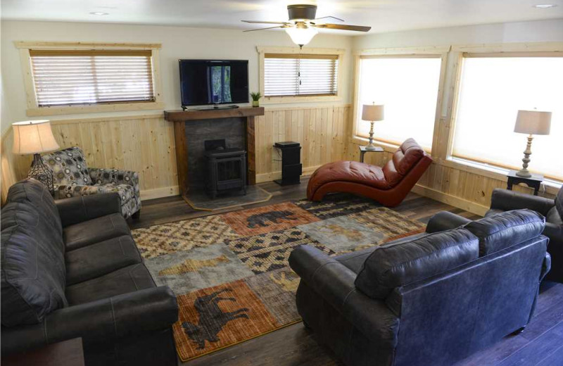 Cabin living room at Three Rivers Resort & Outfitting.