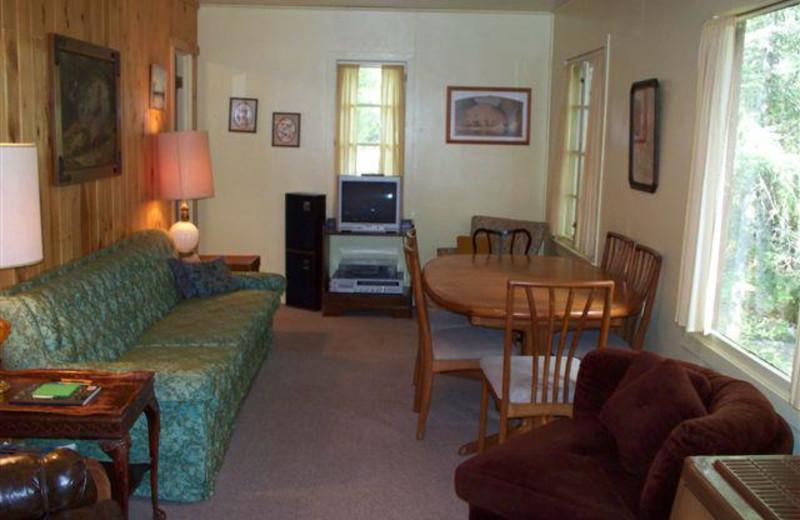 Cabin living room at Tamarack Resort.