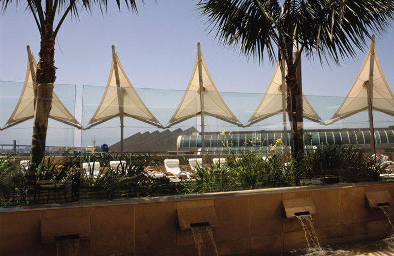 View of Convention Center from Palm Terrace at Omni San Diego Hotel.