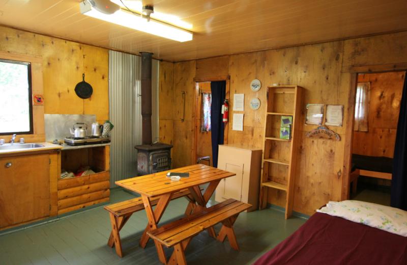 Cabin interior at Kipawa Lodge.