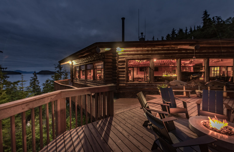 Night view form the deck at Salmon Falls Resort