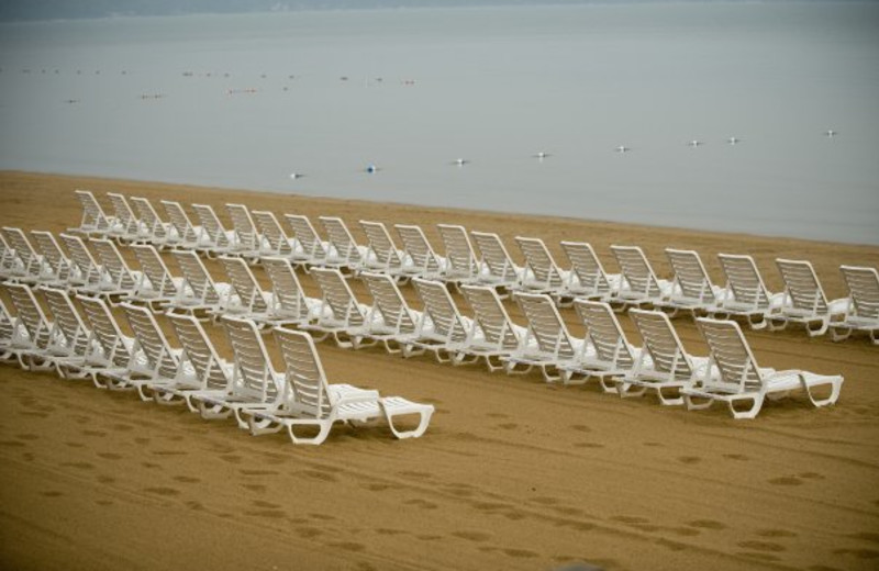 Beach lounge chairs at ParkShore Resort.