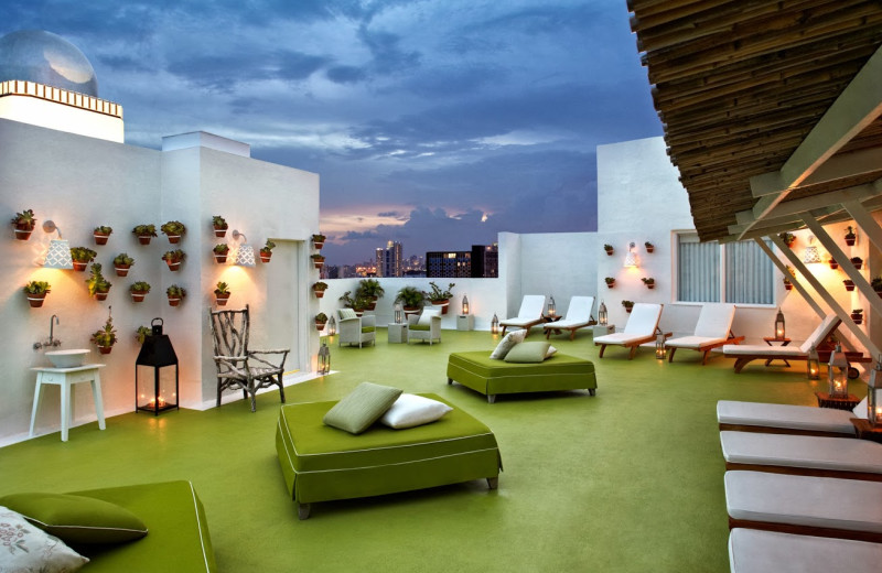Outdoor lounge at Delano South Beach.