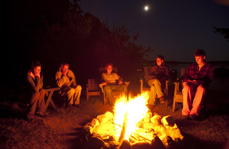 Bonfire at Pebble Cove Farm.