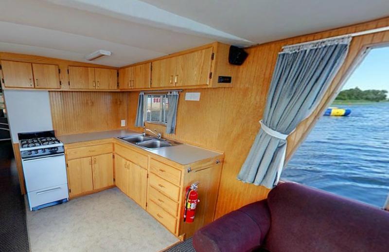 Houseboat kitchen at Hiawatha Beach Resort.