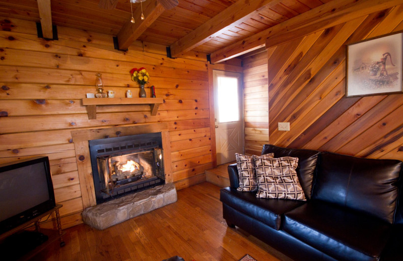 Cabin living room at Country Road Cabins.