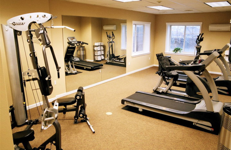 Fitness room at Rivertide Suites Hotel.