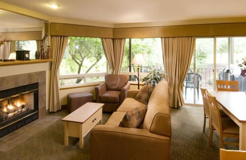 Suite living room at Whispering Woods Resort.