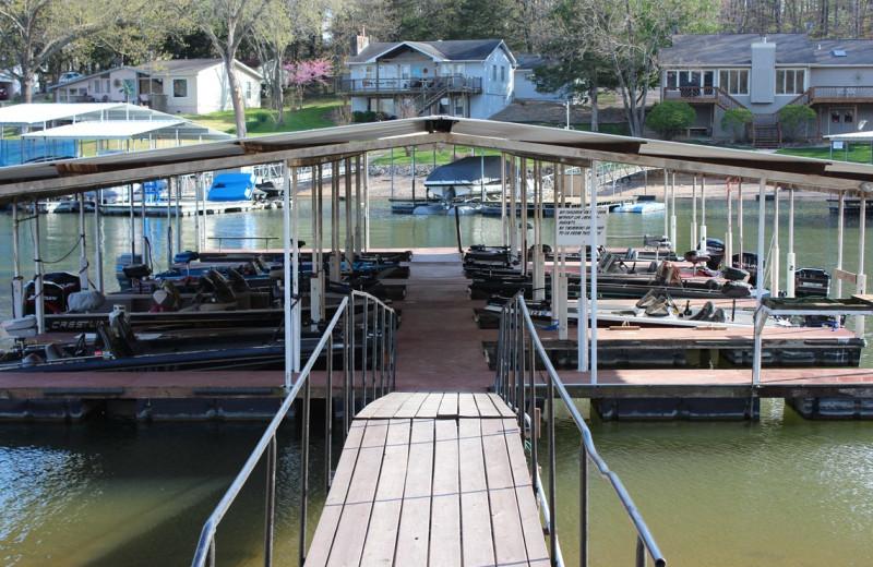 Fishing docks at Hawks Landing Resort.