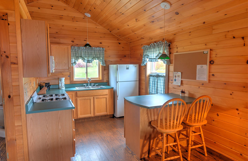 Meticulously clean country-style decorative lakeside cabin at Jackson's Lodge, Canaan, Vermont, Northeast Kingdom, The great North Woods.
