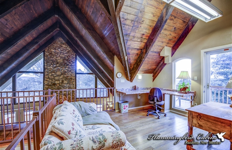 Lofted living area at Hummingbird Cabins - Holly House Vacation Rental