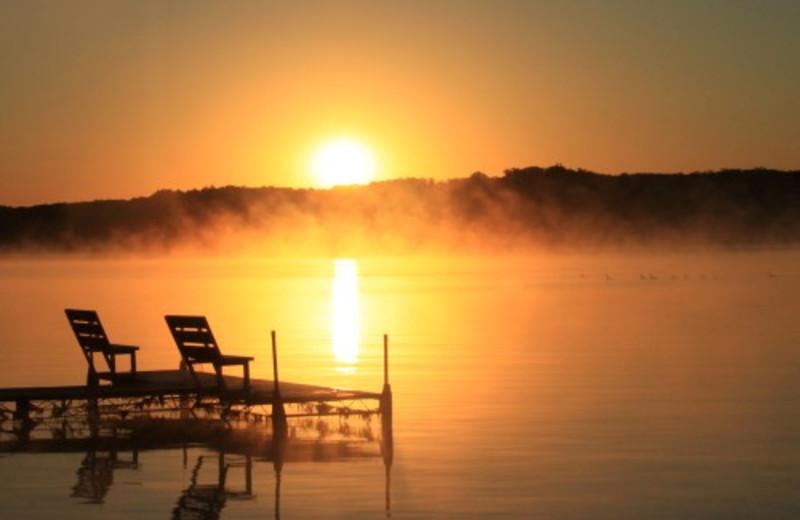 Sunset Over Lake at Janetski's Big Chetac Resort