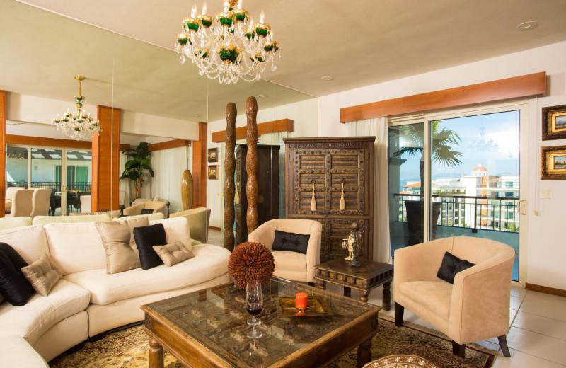 Rental living room at La Isla - Vallarta.