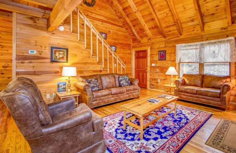 Cabin living room at TNT Cabin Rentals.