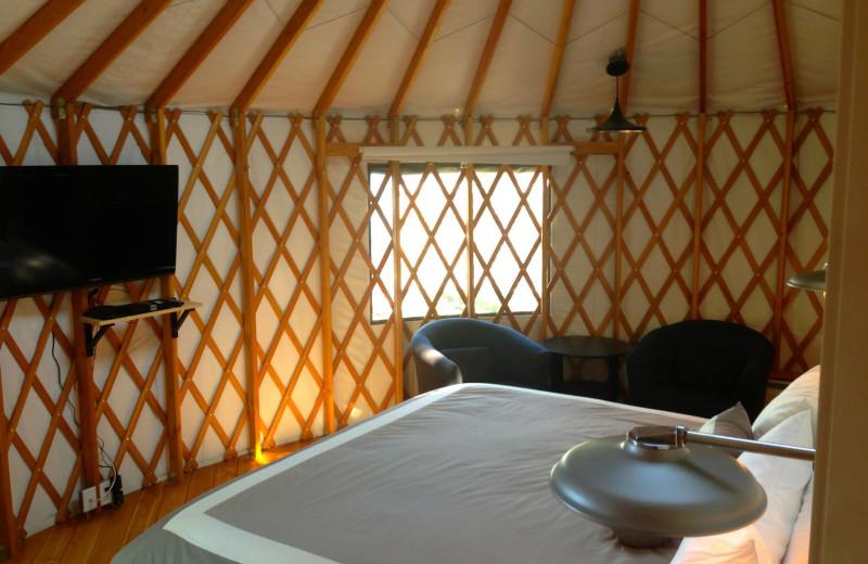 Yurt bedroom at Barefoot Beach Resort.