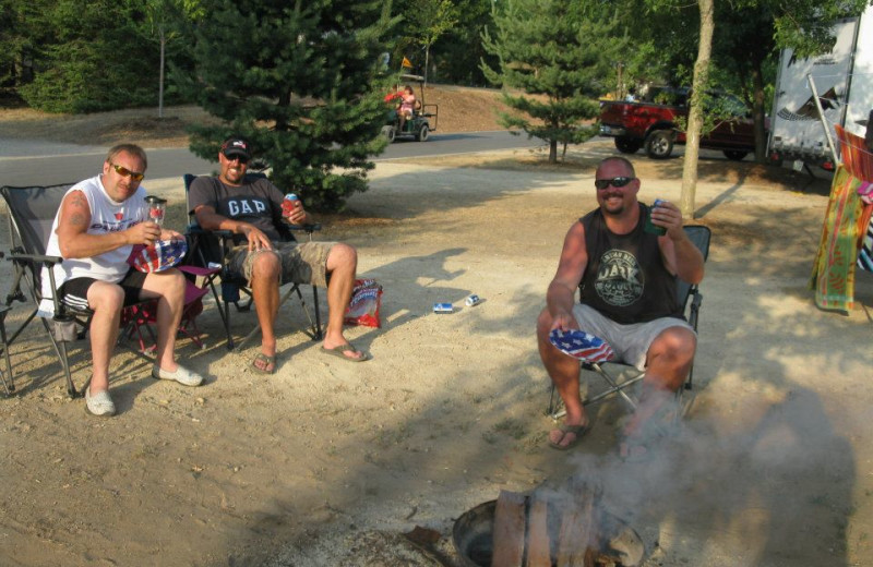 Enjoying a Bonfire at Smokey Hollow Campground