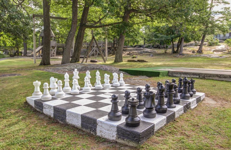 Giant chess at Delawana Resort.