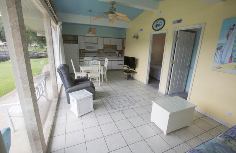 Cabin kitchen at Bass Point Resort.