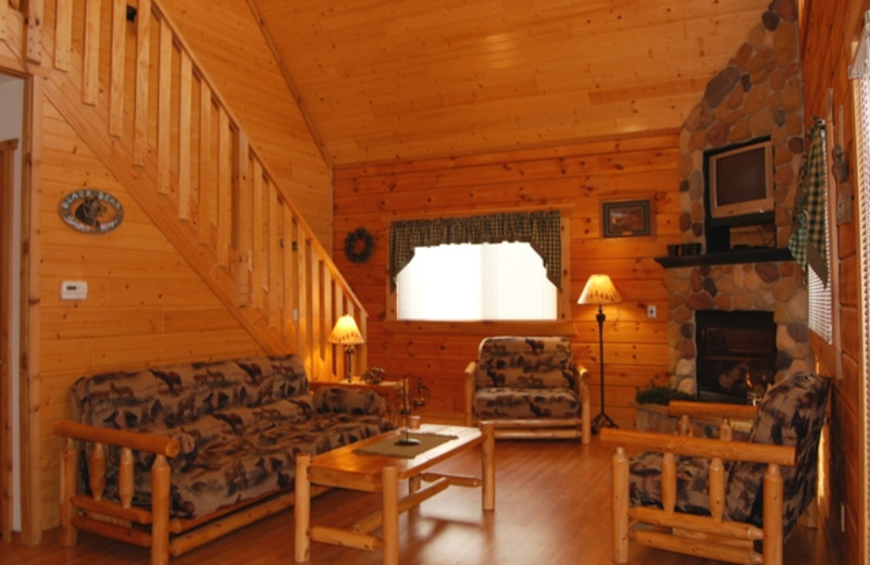 Cabin living room at Warrens Lodging.