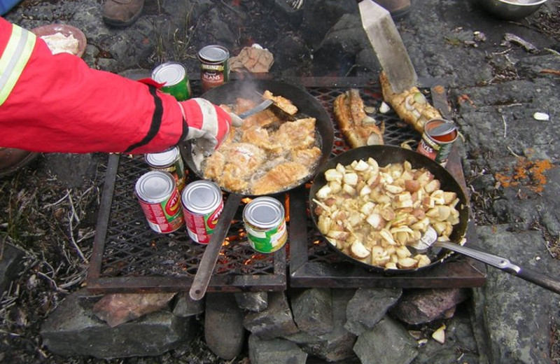 Dining at Plummer's Arctic Fishing Lodges.