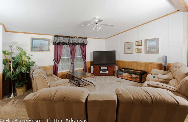 Living Room in Cabin at His Place Resort