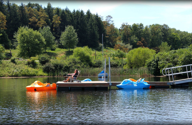 Relax on the dock at Rocky Gap Casino Resort.