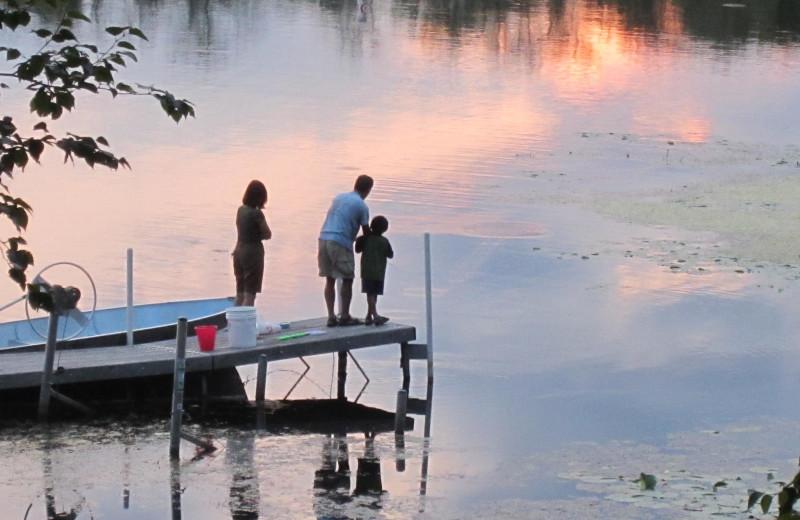 Family fishing at Lost Lake Lodge.