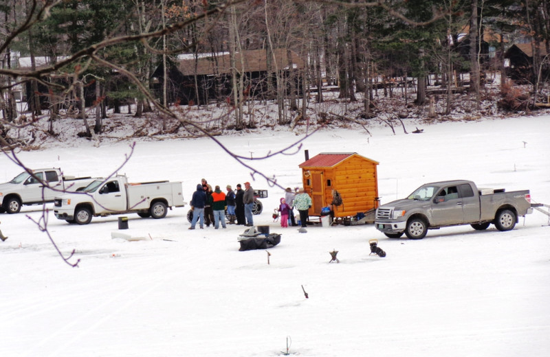 Ice fishing at HighWinds Lodge & Cottages.