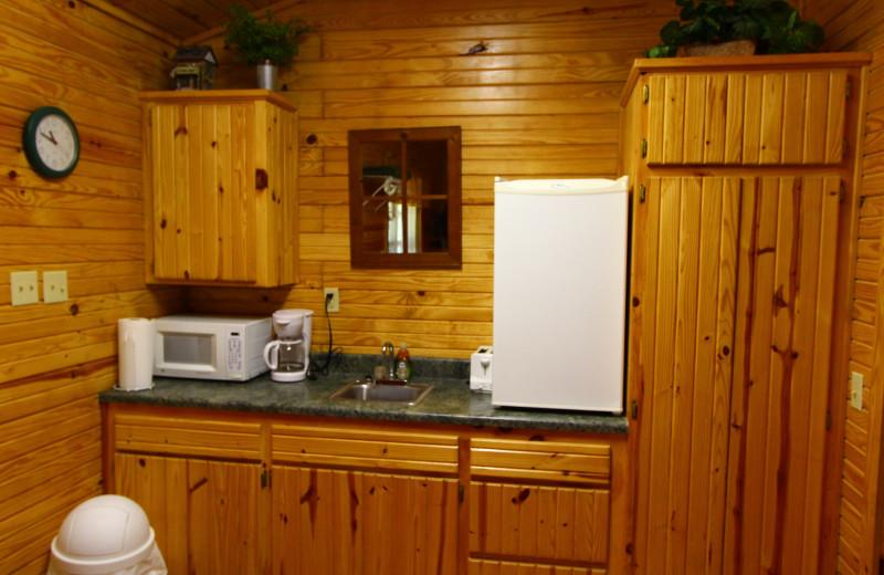 Cabin kitchen at Ozark Cabins.