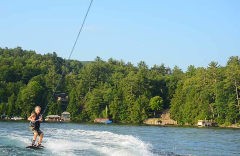 Water skiing at The Lodges at Cresthaven on Lake George.