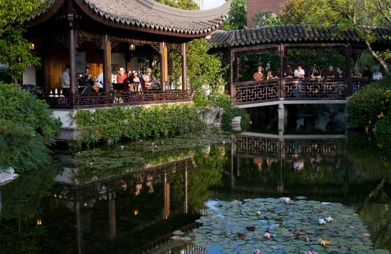 Chinese garden at The Heathman Lodge.