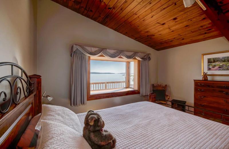 Rental bedroom at Acadia Cottage Rentals.