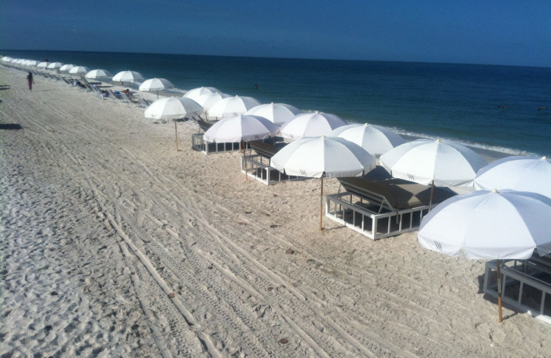 The beach at Waldorf Astoria Naples.