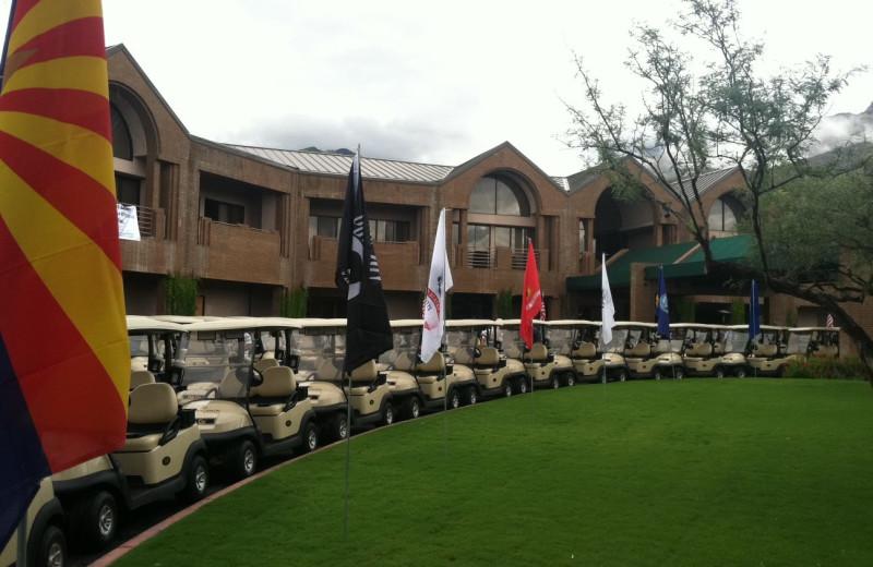 Golf carts at The Lodge at Ventana Canyon.