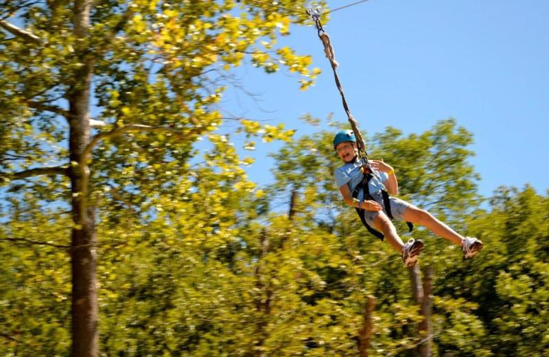 Zip line at YMCA Trout Lodge & Camp Lakewood.