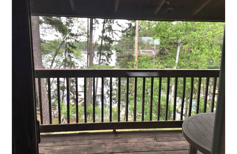 Guest balcony at Silver Rapids Lodge.