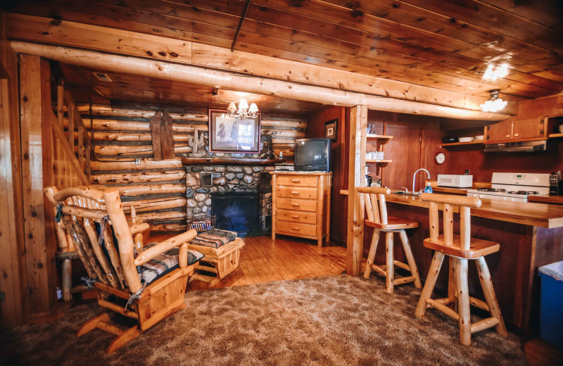 Cabin interior at Pine River Lodge.