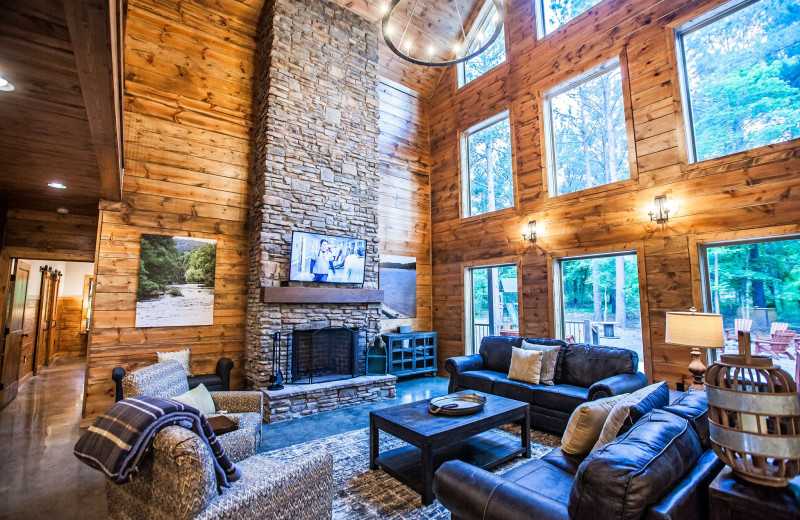 Cabin living room at Blue Beaver Luxury Cabins.