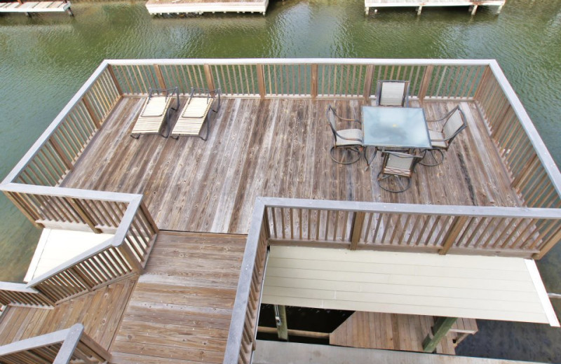 Vacation rental deck at Ryson Vacation Rentals.