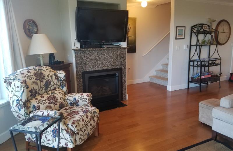 Rental living room at Oceanfront Getaways.