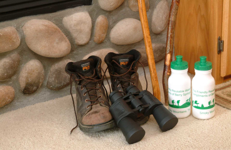 Hiking boots, walking sticks, water bottles and binoculars at Berry Springs Lodge.